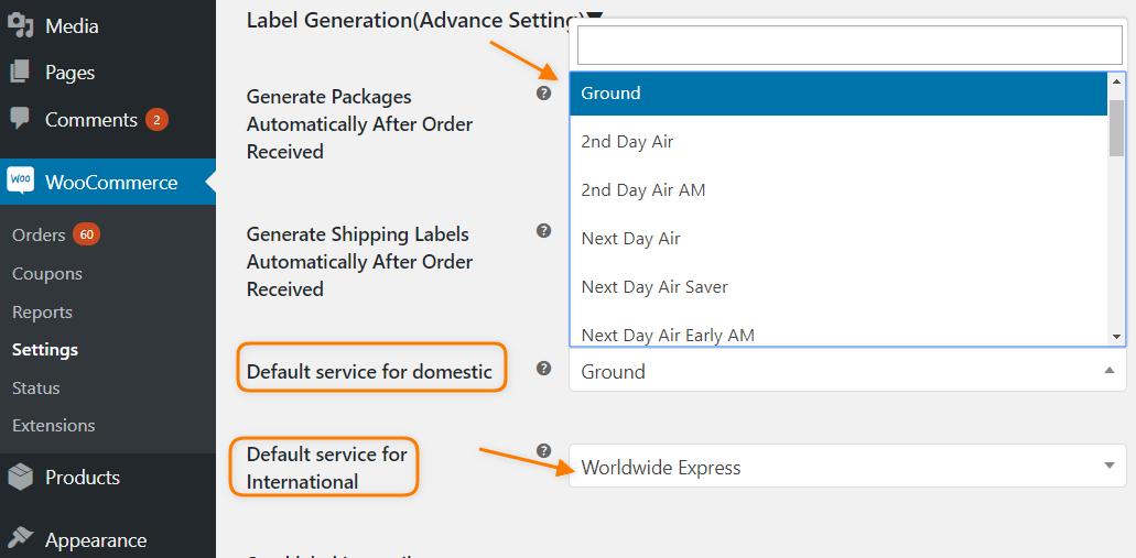 Default UPS Services