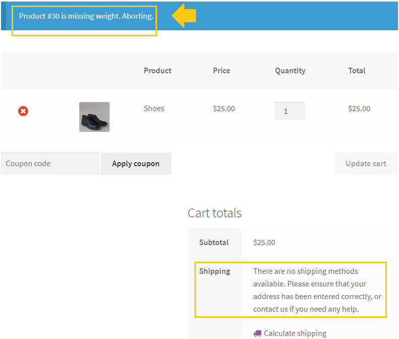 Missing weight error on woocommerce cart page