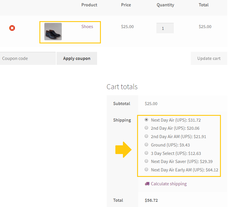 woocommerce shipping methods on the cart page