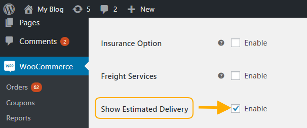 enable the show estimated delivery date option