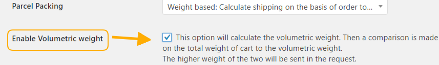 Enable volumetric weight calculation option