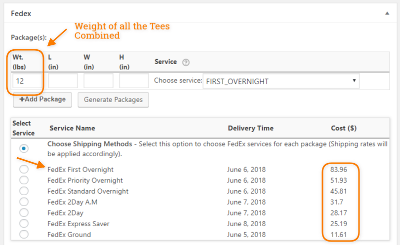 fedex shipping rates for woocommerce custom product boxes