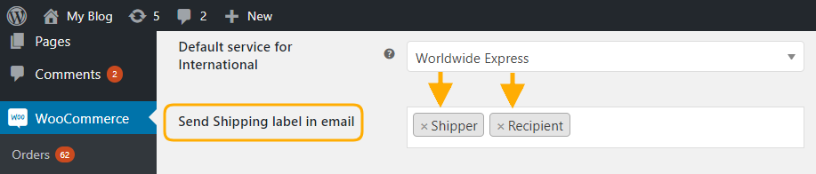 send shipping labels to shipper and customers via email