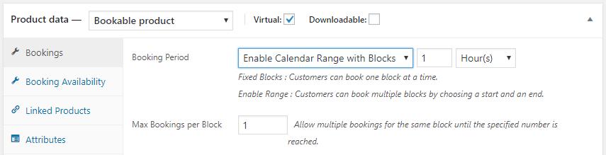 Calendar range booking