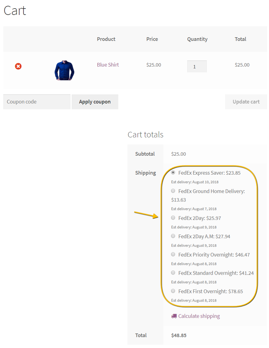Automate Real-time FedEx shipping rates on the cart page