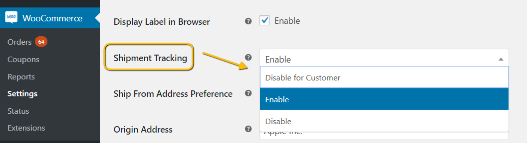 Enable UPS shipment tracking in the plugin settings