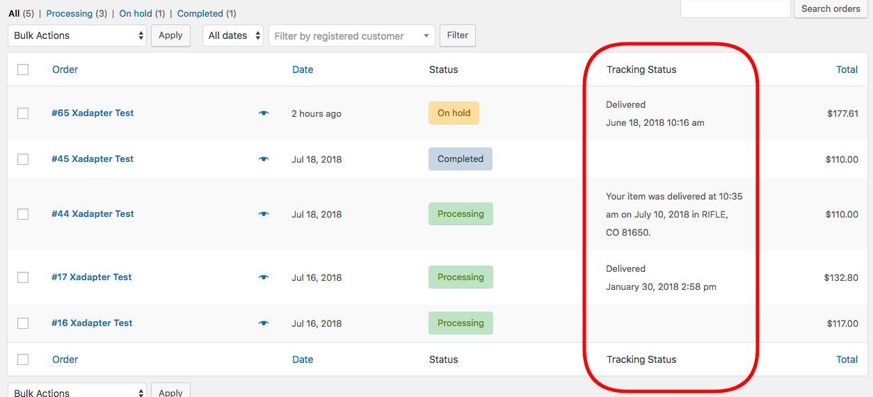 Live tracking status updates on the WooCommerce Orders page