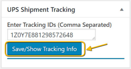 Save UPS Tracking Details generated by the plugin