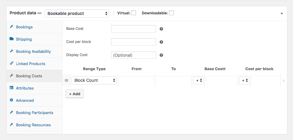 WooCommerce Bookings costs setting up page