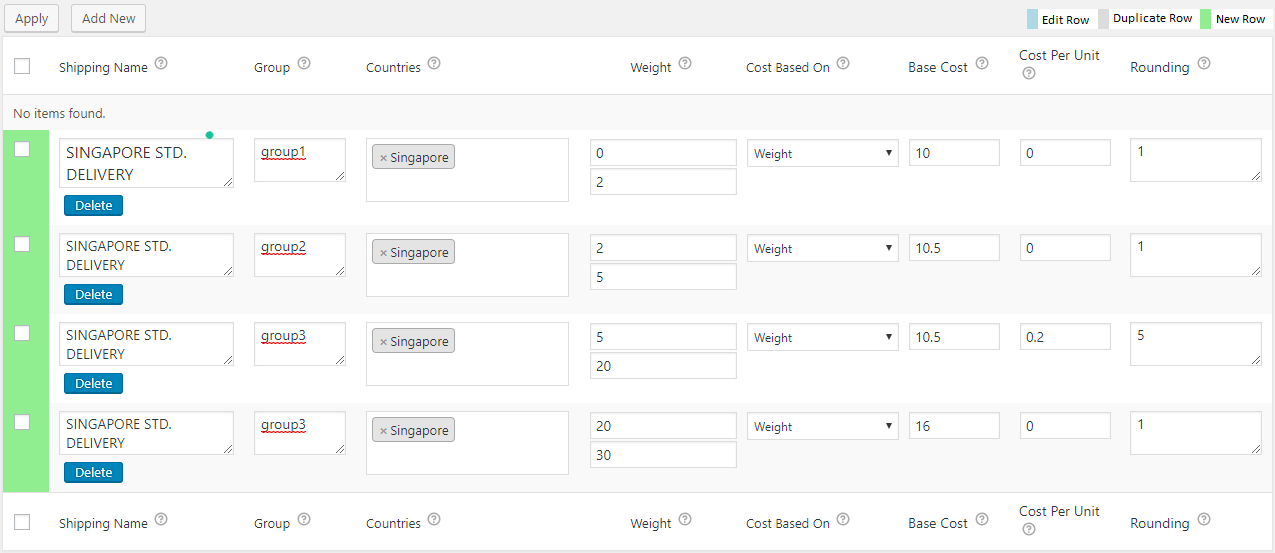 Singapore Post Shipping Rates configured using WooCommerce Table Rate plugin