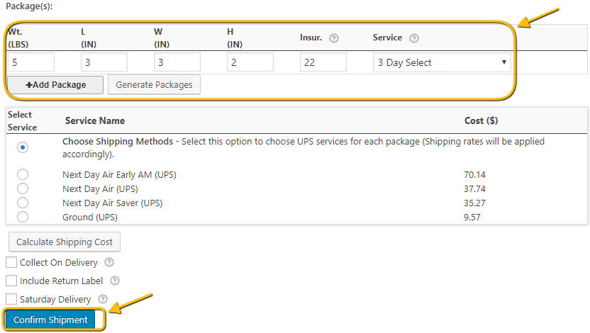 UPS Package generated by the plugin