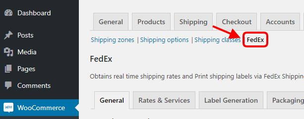 FedEx Shipping plugin settings