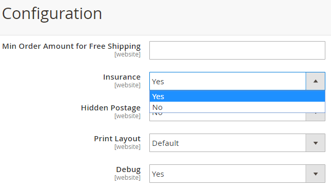 Insurance option for your shipments