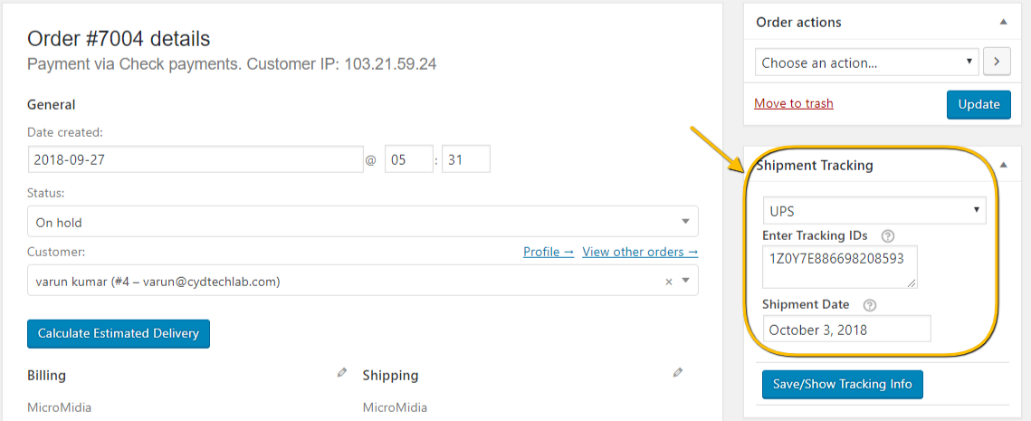 Shipment tracking details on the orders page