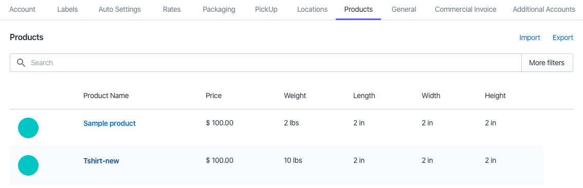 Shopify FedEx product settings