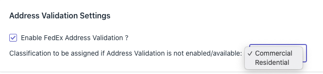 Shopify FedEx Addres Validation settings