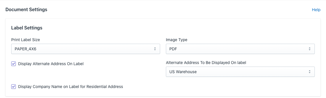 Shopify FedEx label settings