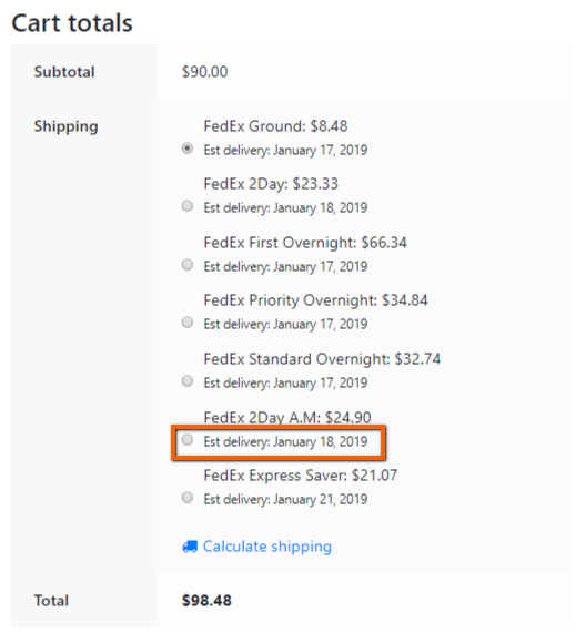 Display Estimated Delivery Date