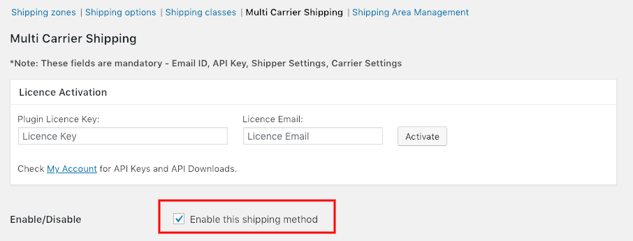 Enable Shipping Rates