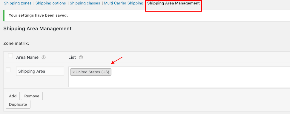 Shipping Area Management