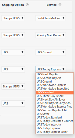 List of uPS Shipping services