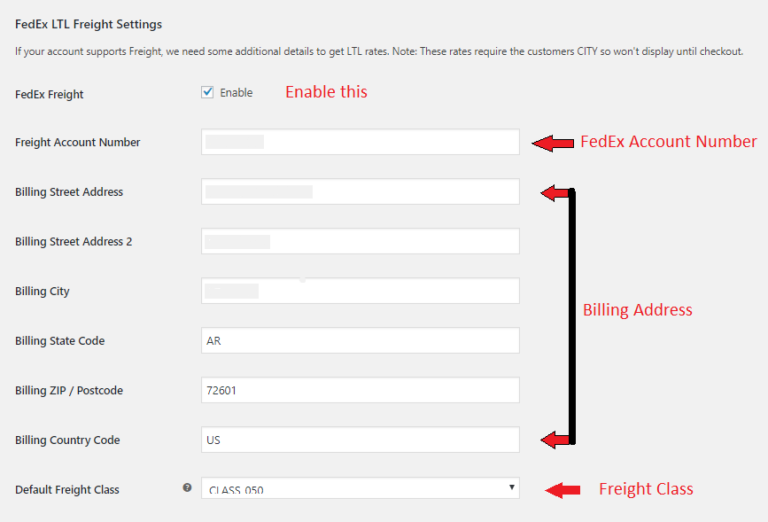 fedex freight shipping in woocommerce settings