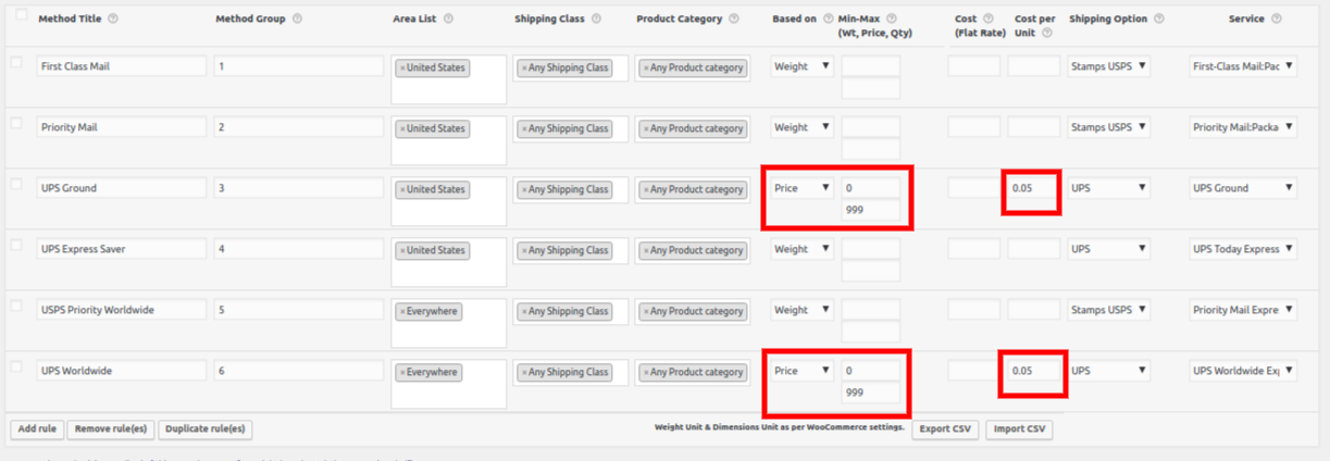 Shipping Rules with Price Adjustment