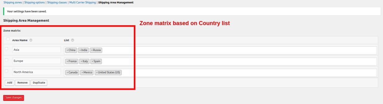 zone matrix - country