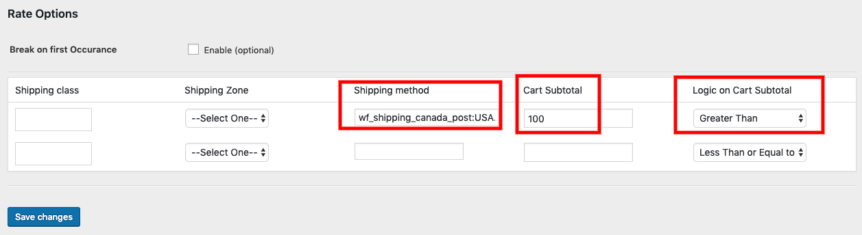 Hide Shipping Method based on cart subtotal (above $100)