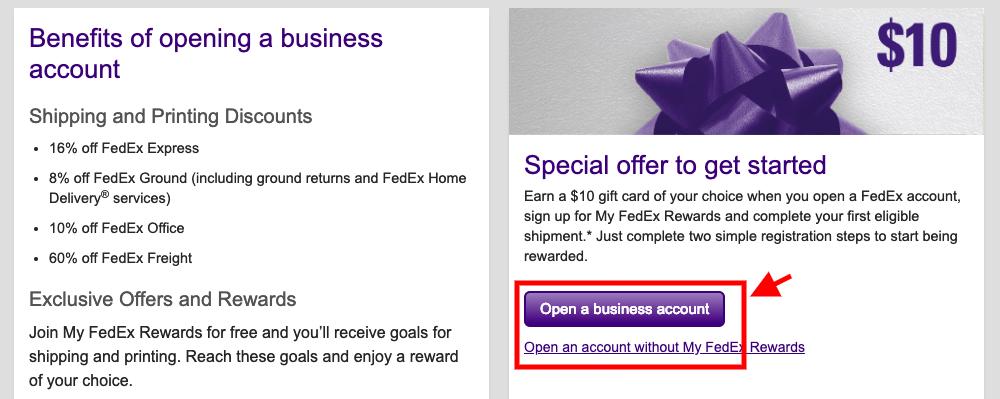 Open FedEx Business Account