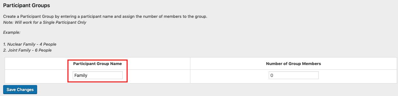 Participant Group Name