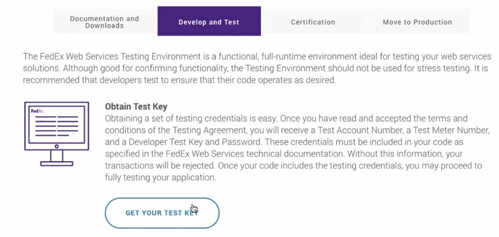 Get your Test Keys