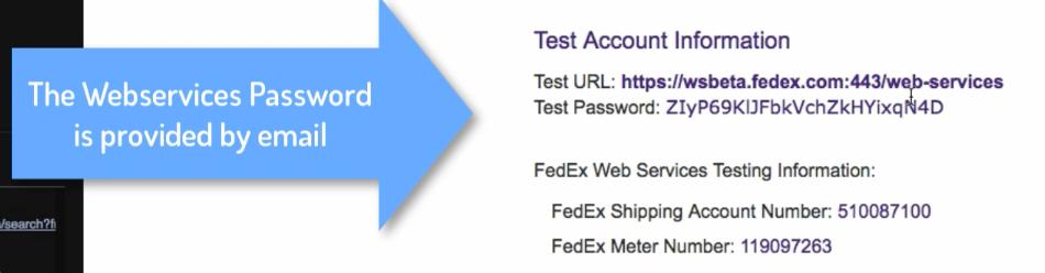 FedEx Web-Service Password via Email