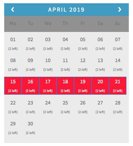 April Bookings with 7 days