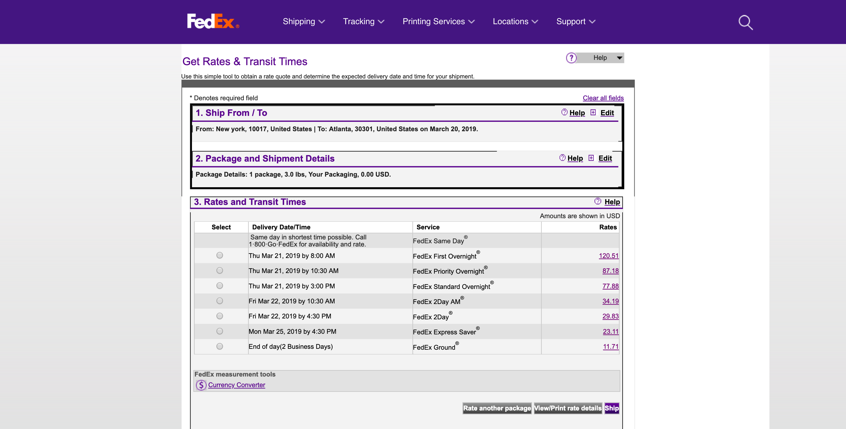 fedex shipping rates