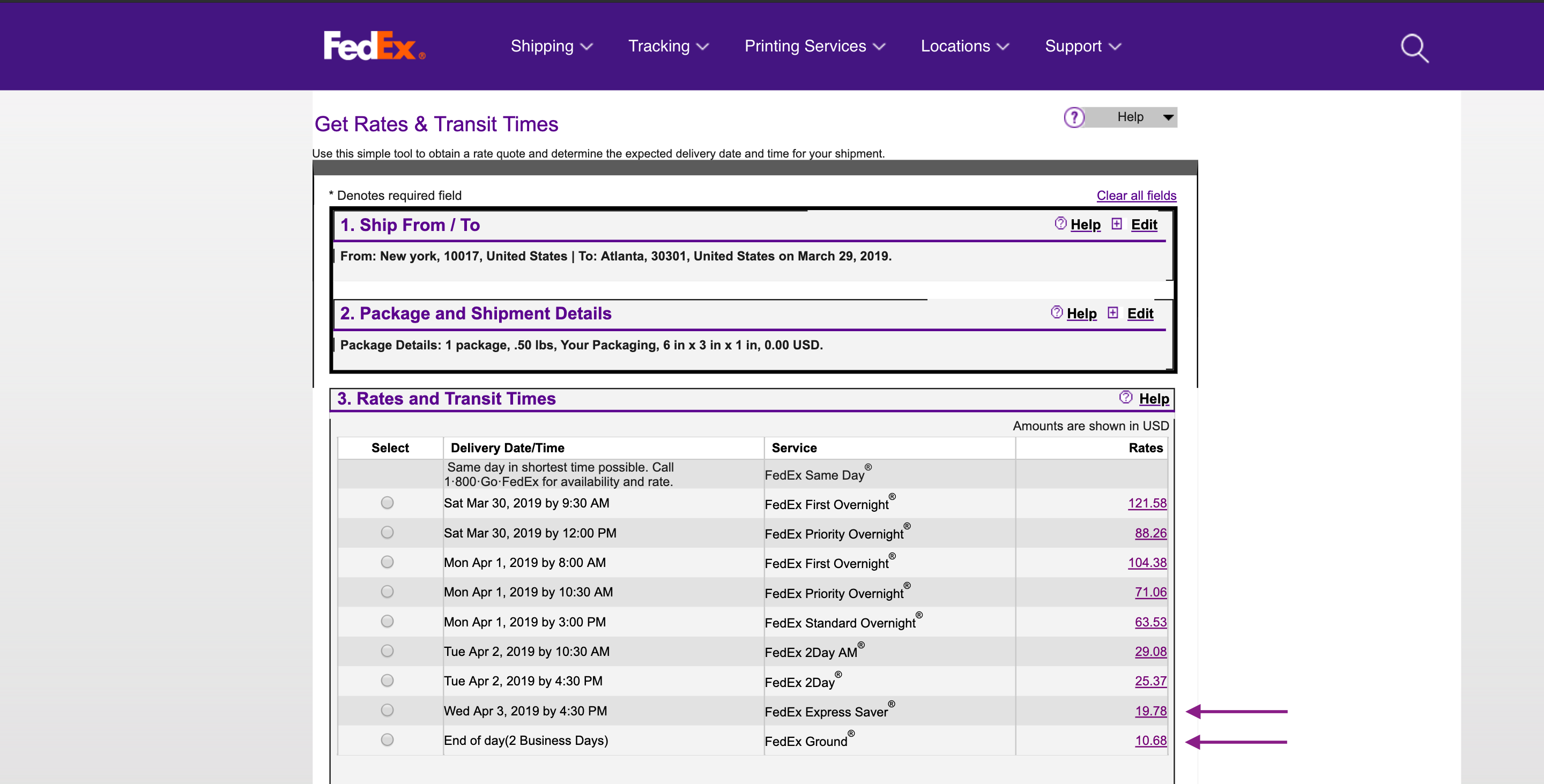 fedex shipping rates online