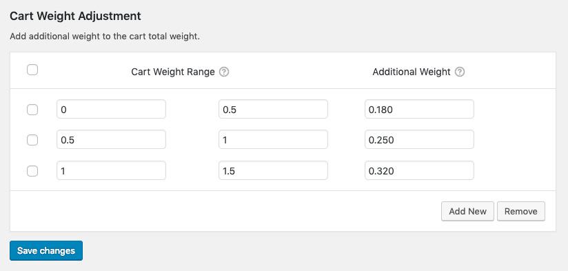 cart weight adjustments