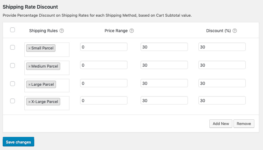Shipping rates discount