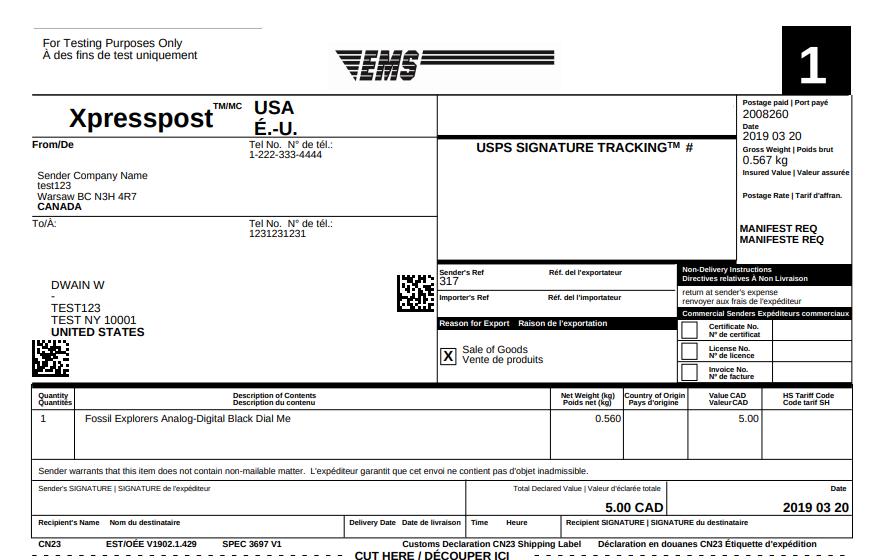 Xpresspost USA label