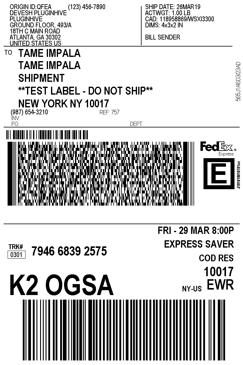 fedex express saver label