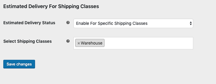 Show delivery dates for a shipping class