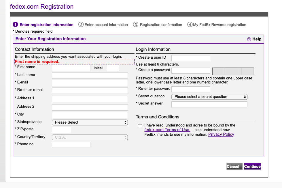 Fill in the FedEx form
