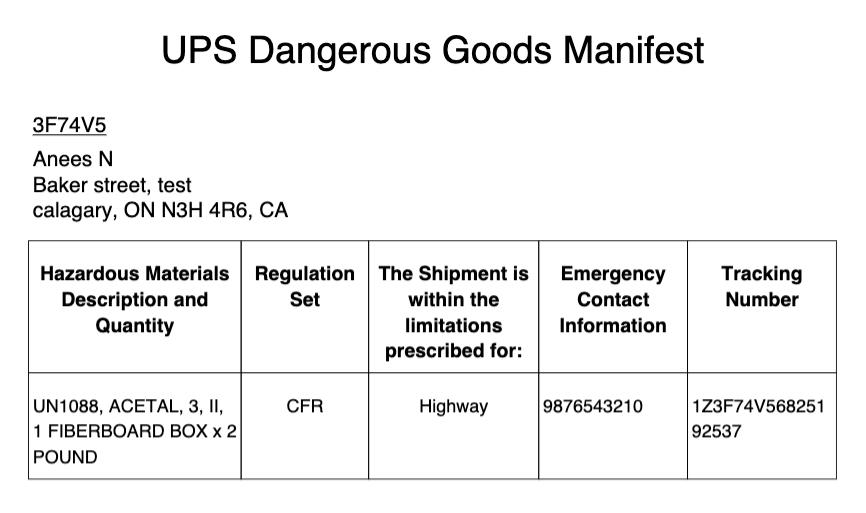 ups dangerous goods manifest
