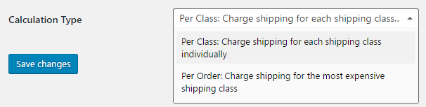 Calculation type for woocommerce shipping class costs
