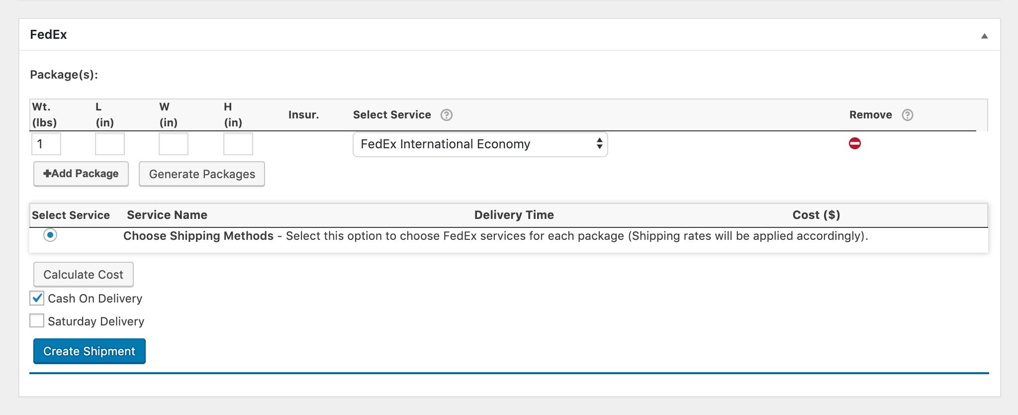 fedex international economy shipment