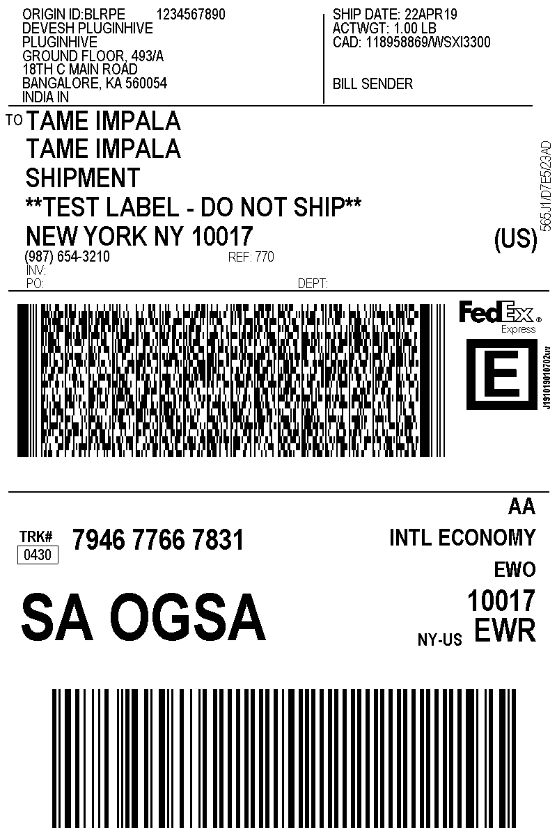fedex international economy label