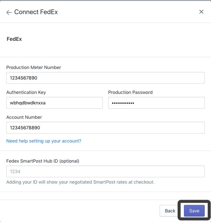 add fedex account details