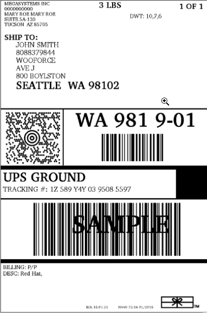 sample ups label