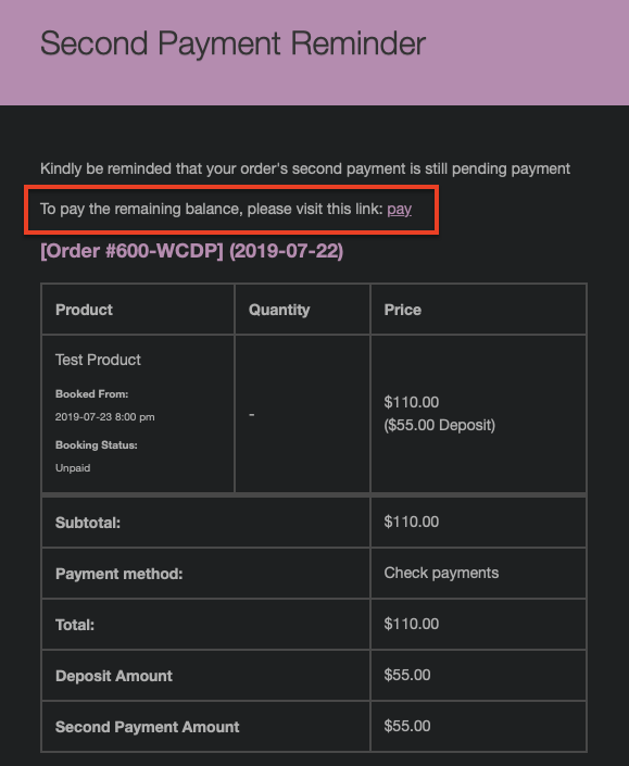Partial Payment Email