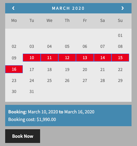 Booking cost in March